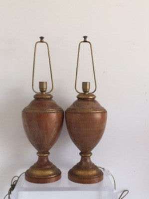 Pair of Italian Wood Urn lamps - The Sweetwood Collection
