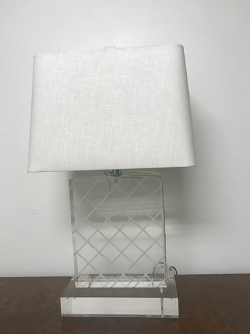 Mid Century lucite cross cut embossed lamp - The Sweetwood Collection