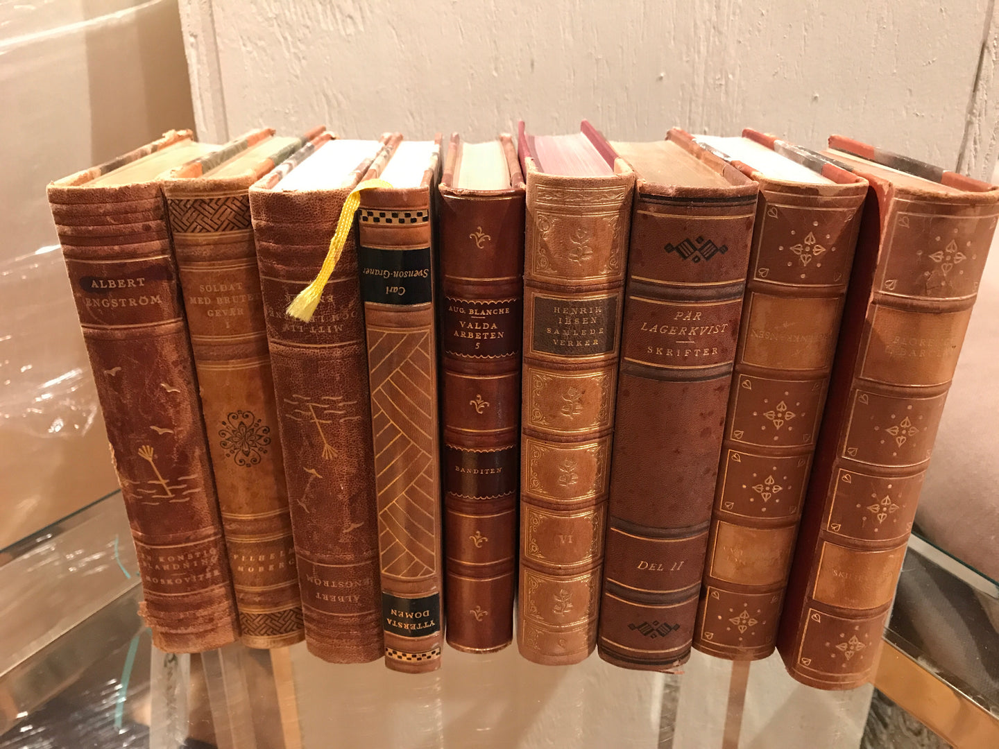 Set of 9 German leather books - The Sweetwood Collection