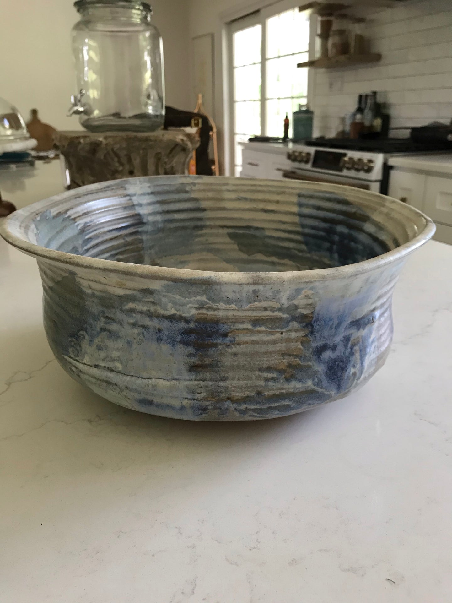 Signed clay bowl in blues