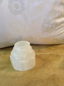 Selenite crystal small tower votive - The Sweetwood Collection