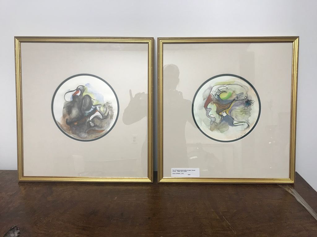 Pair of Framed watercolor abstract Birds, framed artist: Ed Martin , 1970 - The Sweetwood Collection
