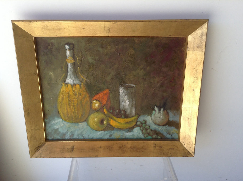 MID CENTURY FRAMED OIL STILL LIFE, SIGNED