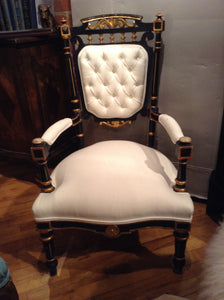 Antique pair of Upholstered tufted Ebony/Guilded chairs - The Sweetwood Collection