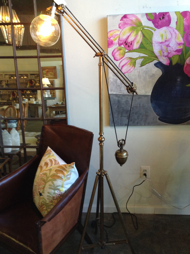 Brass tripod weighted floor lamp - The Sweetwood Collection
