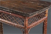 Bamboo side table with fret work c. 19th century - The Sweetwood Collection