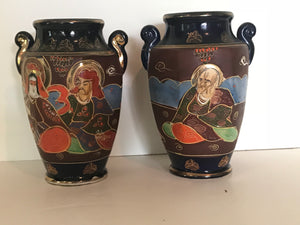 Pair of hand painted Satsuma Japanese vases. - The Sweetwood Collection