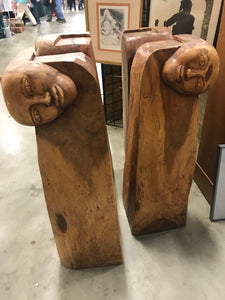 Set of 4 Mid Century hand carved Face and Hands table base - The Sweetwood Collection