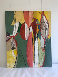 Colorful Abstract painting on canvas signed LIZA - The Sweetwood Collection