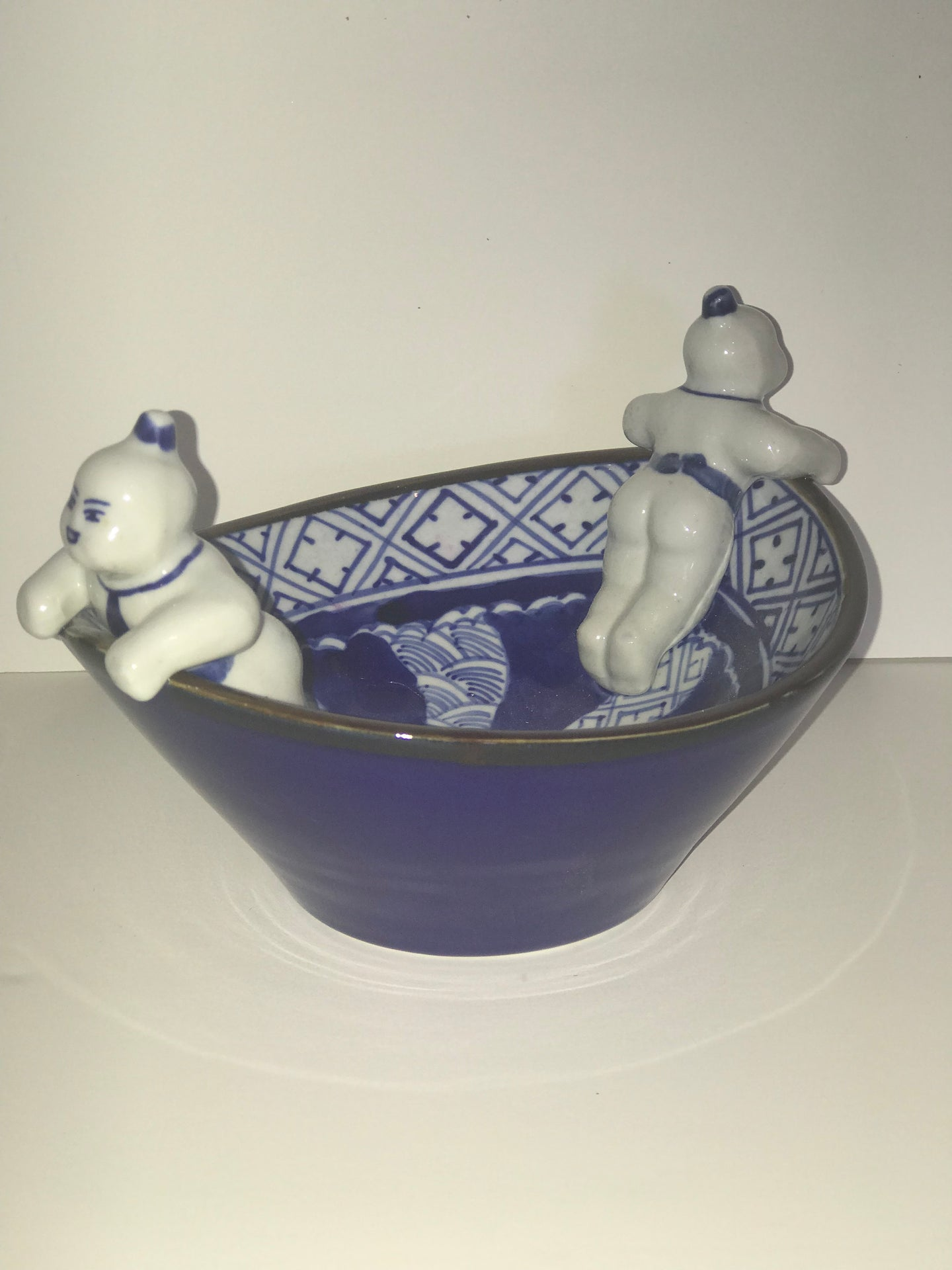 2 man -Whimsical Asian blule and white bowl. - The Sweetwood Collection