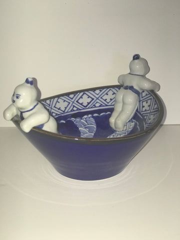 2 man -Whimsical Asian blule and white bowl.