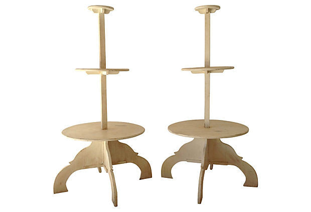 Antique 3 tiers round plant stands - The Sweetwood Collection
