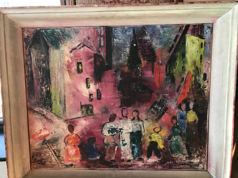 City Scape in Pinks, 1949, signed, Gallery hung - The Sweetwood Collection