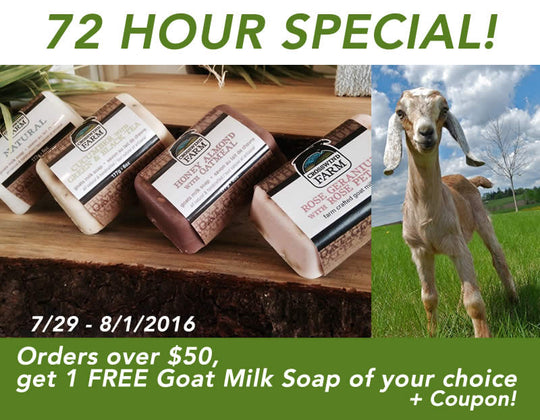 Get one free Goat Milk soap - 72 Hour Special Sale