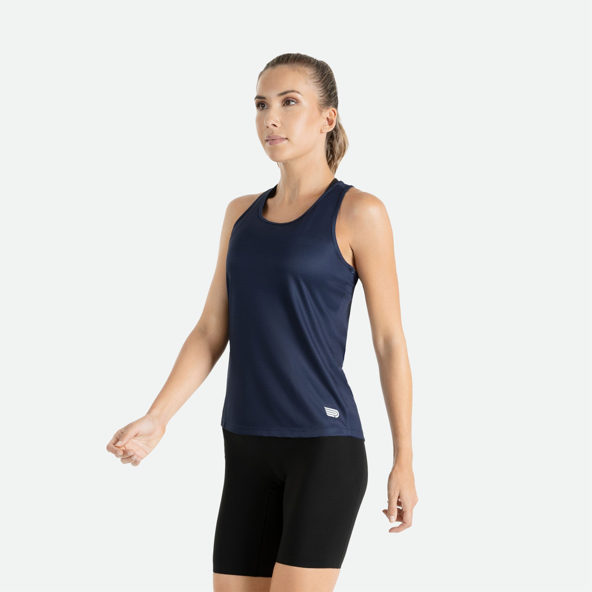 Our Pressio women's navy Hāpai razorback singlet features EcoTECH MF fabric which has dual filament recycled polyester yarns from Unifi for superior moisture control to keep you dry.