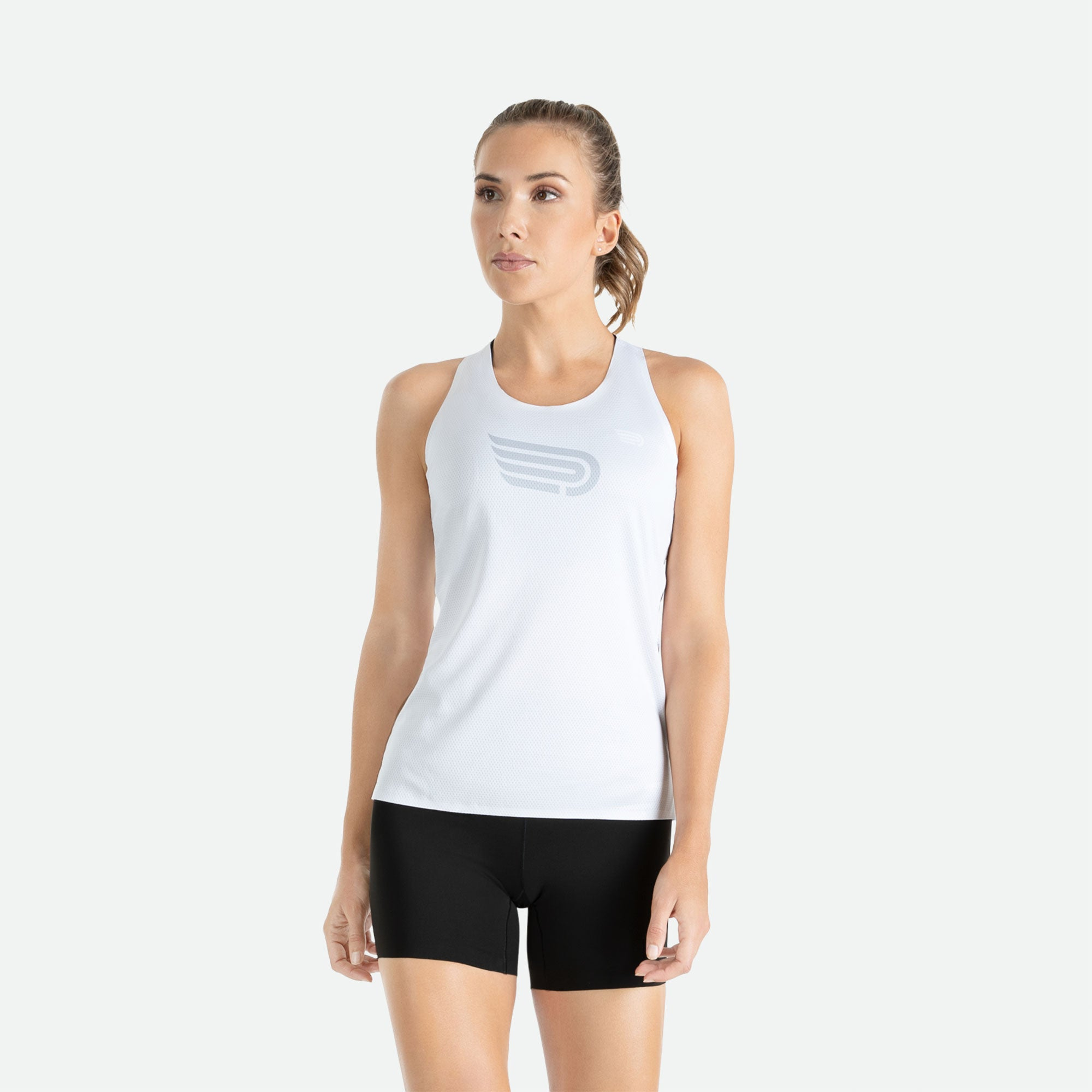 Engineered 3D vent mesh structure for optimal ventilation on the back of our Pressio women's Ārahi white/light grey singlet.