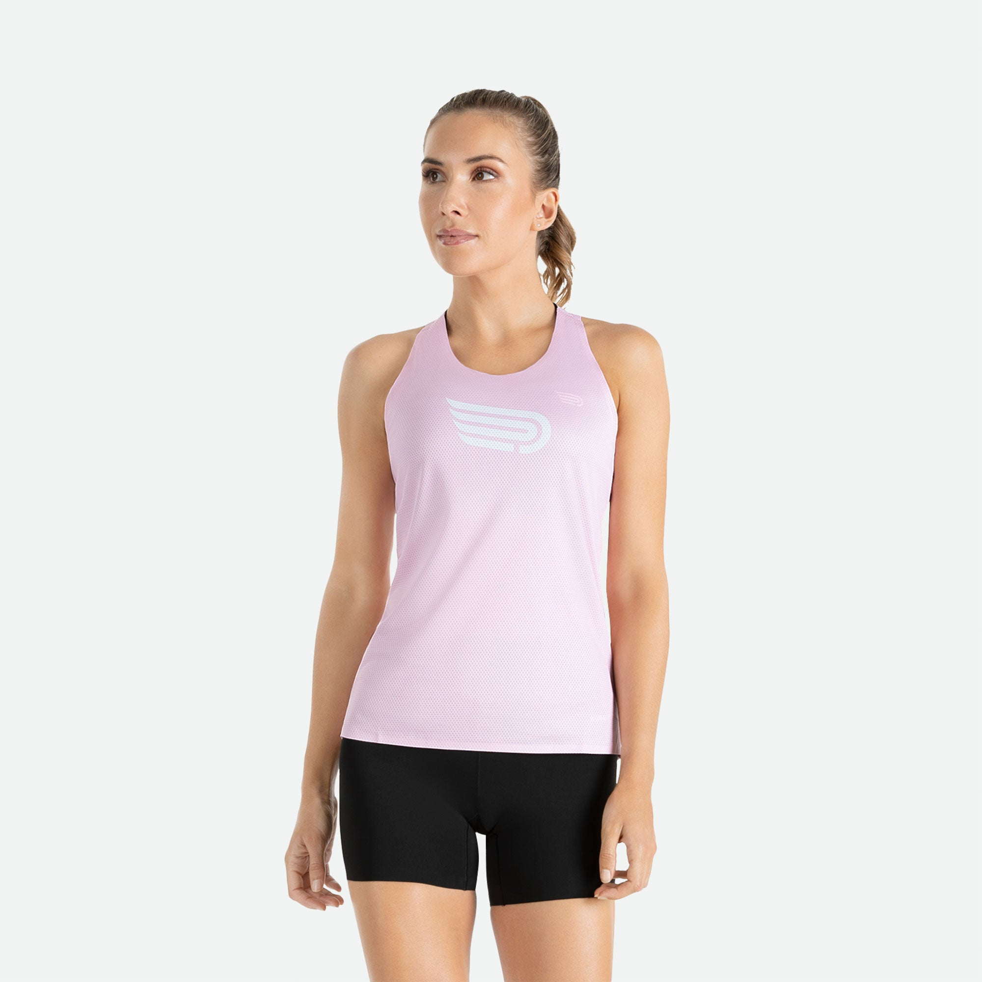 Singlet women's Pressio Ārahi pink/white constructed of high filament mechanical knit fabric for unrestricted freedom of movement, enhanced comfort, and optimal hand feel.