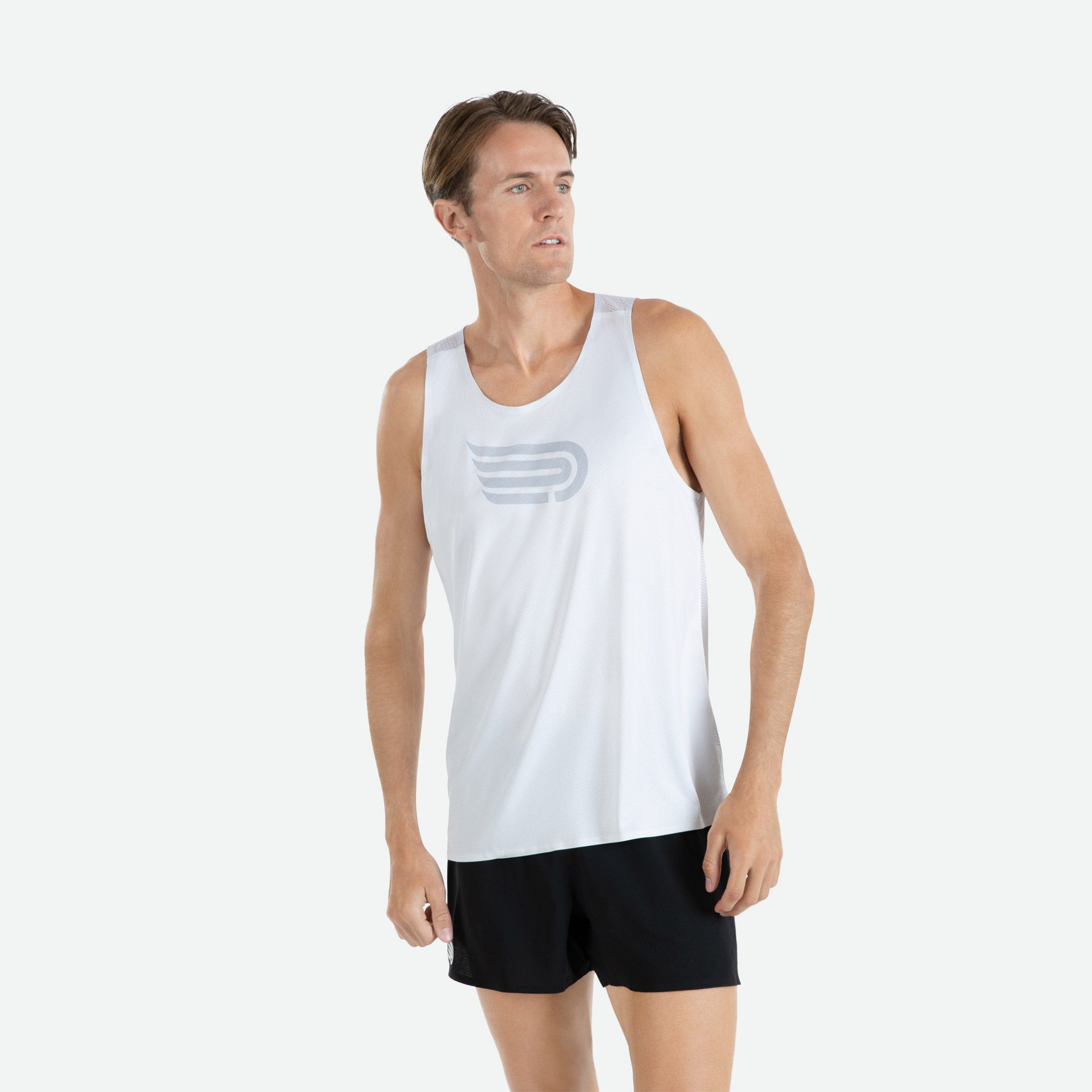 Engineered 3D vent mesh structure for optimal ventilation on the back of our Pressio men's Ārahi white/light grey singlet.