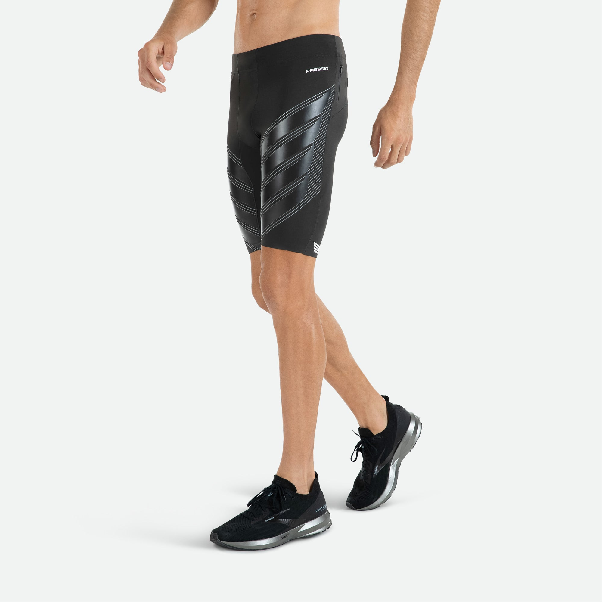 Fusion welded Italian bonding technology on hems of Pressio men's run compression power run short for comfort and no chafe.