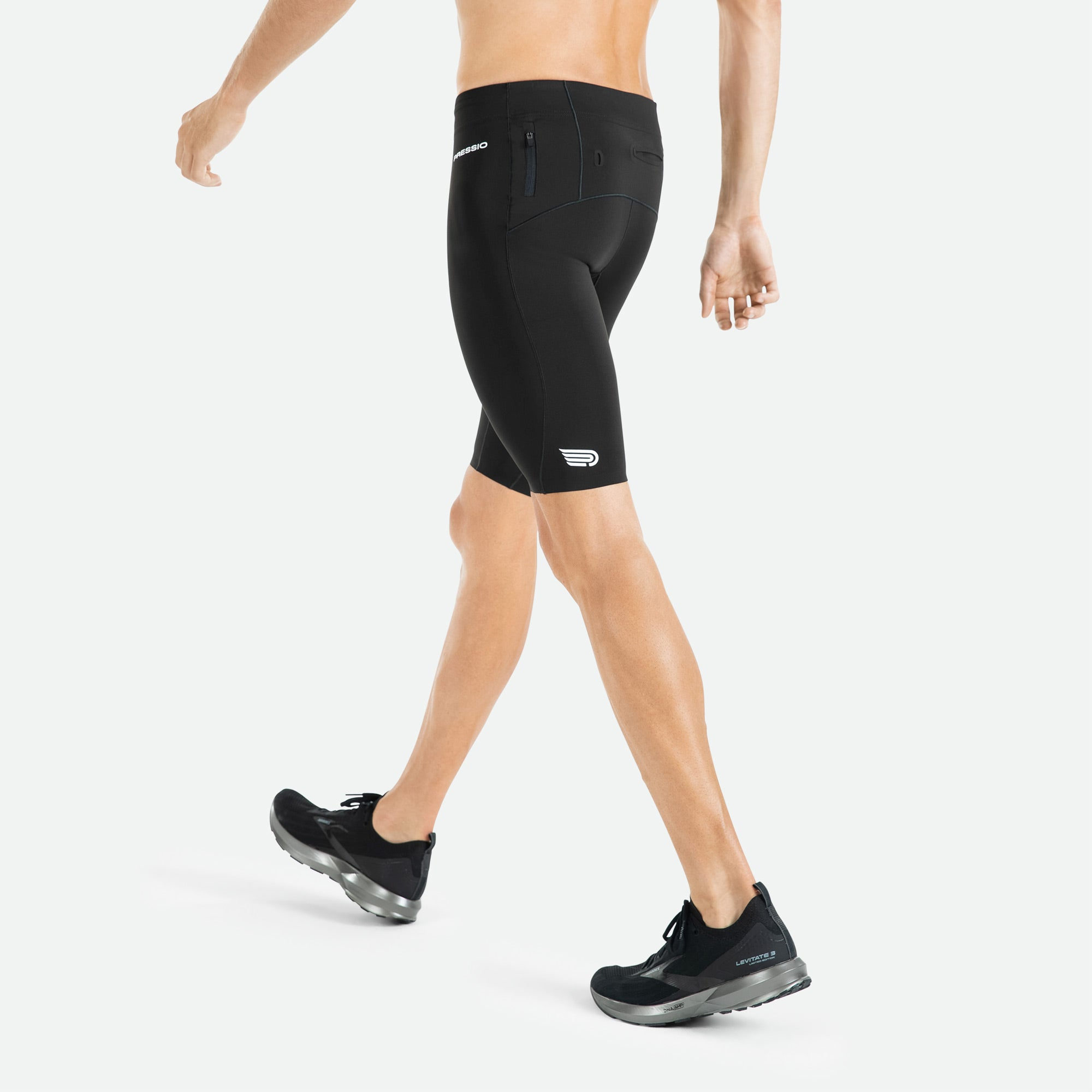 Men's Pressio Run Compression Short offers high filament nylon yarns for comfort, moisture management, and durability.