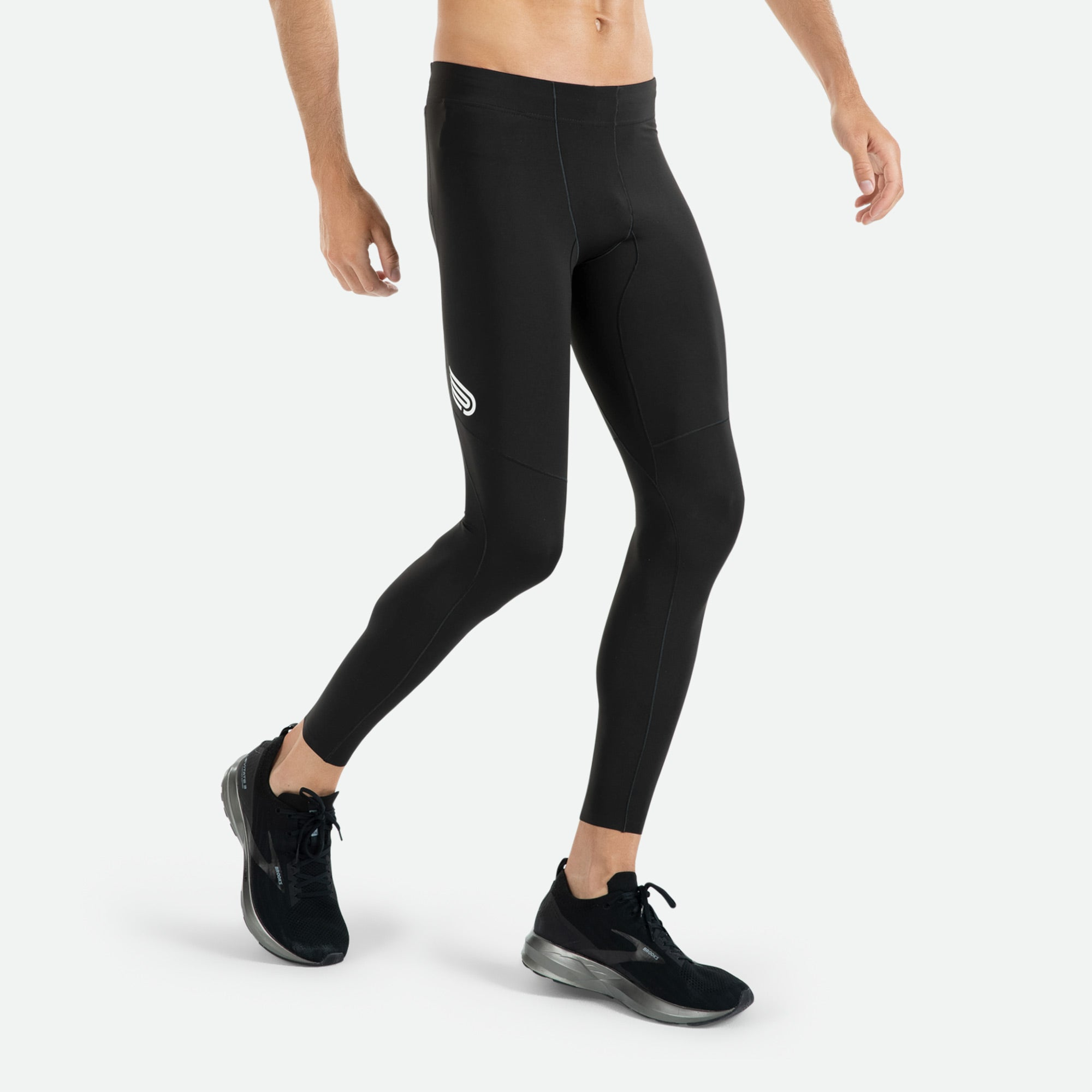 """""""Men's Pressio Run Compression tight has a rear zip pocket for keys and a secure phone pocket. """""""