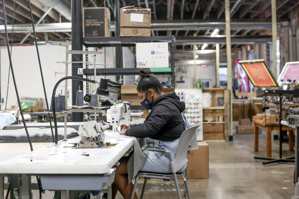 Softgoods Detroit Manufacturing Facility Where INFKNIT Garments are Hand Cut and Sewn Ethically