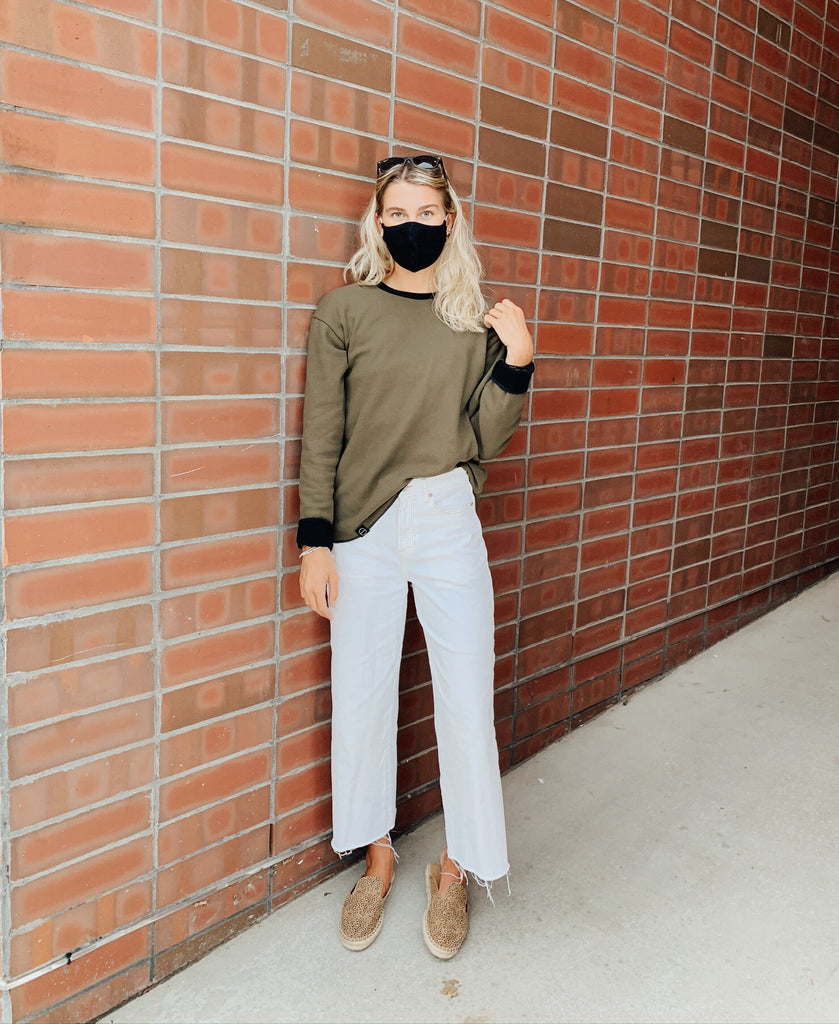 Boho Look with INFKNIT Reversible Long Sleeve Olive Side and Mask Black Side
