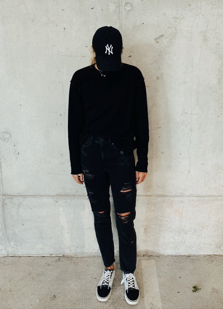Skater Look with INFKNIT's Reversible Long Sleeve Black Side