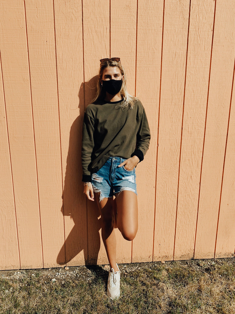 Casual Look with INFKNIT's Reversible Long Sleeve Olive Side and Jean Shorts