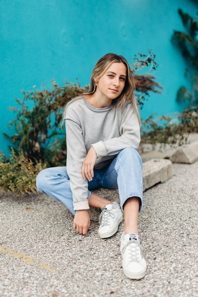INFKNIT Reversible Long Sleeve Grey Side Paired with Blue Jeans
