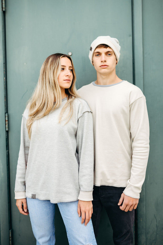 INFKNIT Reversible Long Sleeve Reversible Grey/Canvas