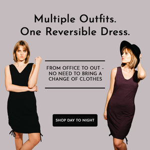 "Slide Featuring two ways to wear the reversible No. 1 Dress - both black and purple side with text reading ""Multiple Outfits in One Reversible Dress. From office to out – no need to bring a change of clothes"" Click Image to shop the Day to Night Set"