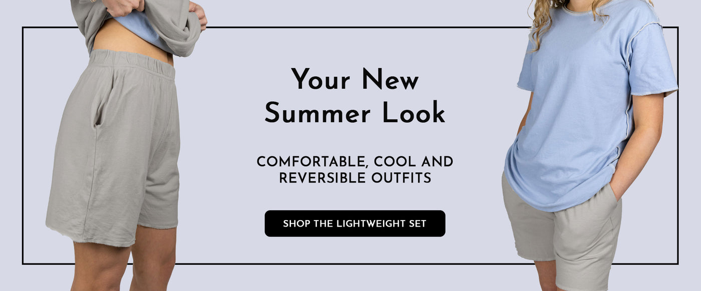 "Slide Featuring the INFKNIT Lightweight Matching Set including the Grey/Dusty Blue Reversible Shorts and Shirt Matching Set with Text Reading ""Your New Summer Look. Comfortable, cool and reversible outfits."" Click on the image to shop the lightweight set."