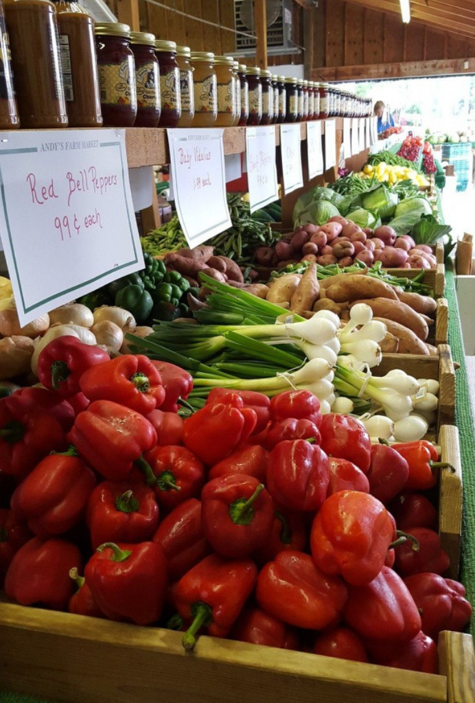 Farmers Market Photo With Bell Peppers, Potatoes, Etc.