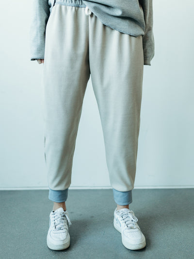 INFKNIT Reversible Natural and Grey Joggers Natural Side #color_reversible-natural-and-light-grey