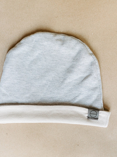 INFKNIT Natural/Light Grey Reversible Beanie Grey Side with Natural Rolled Up