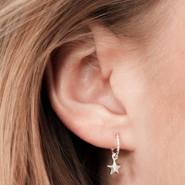 Moon and Star Hoop Earrings Sterling Silver