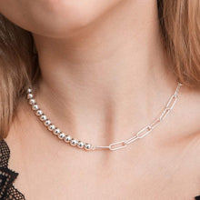 Load image into Gallery viewer, Bead Link Choker Necklace Sterling Silver