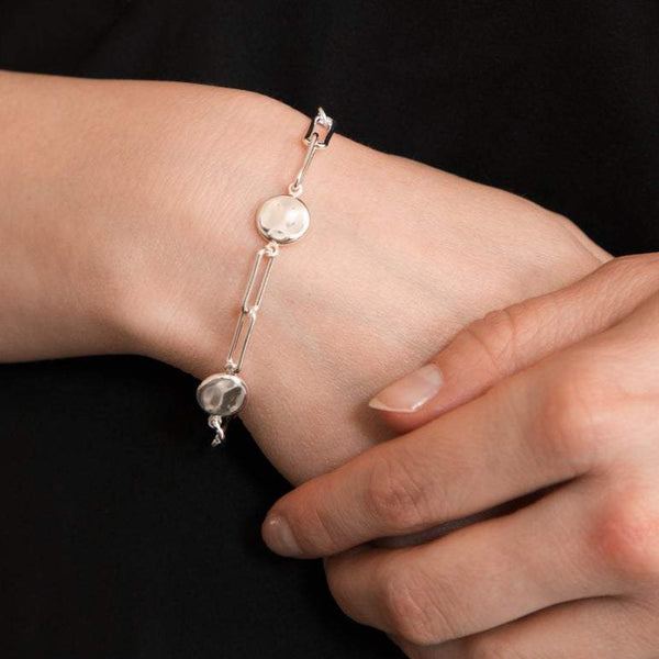 Link and Disc Bracelet Sterling Silver