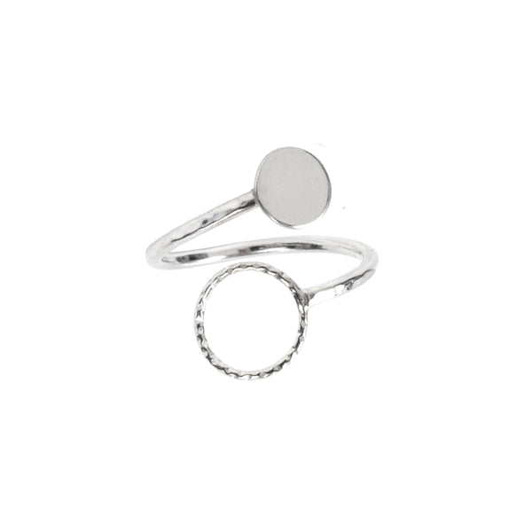 Circle and Disc Ring Sterling Silver