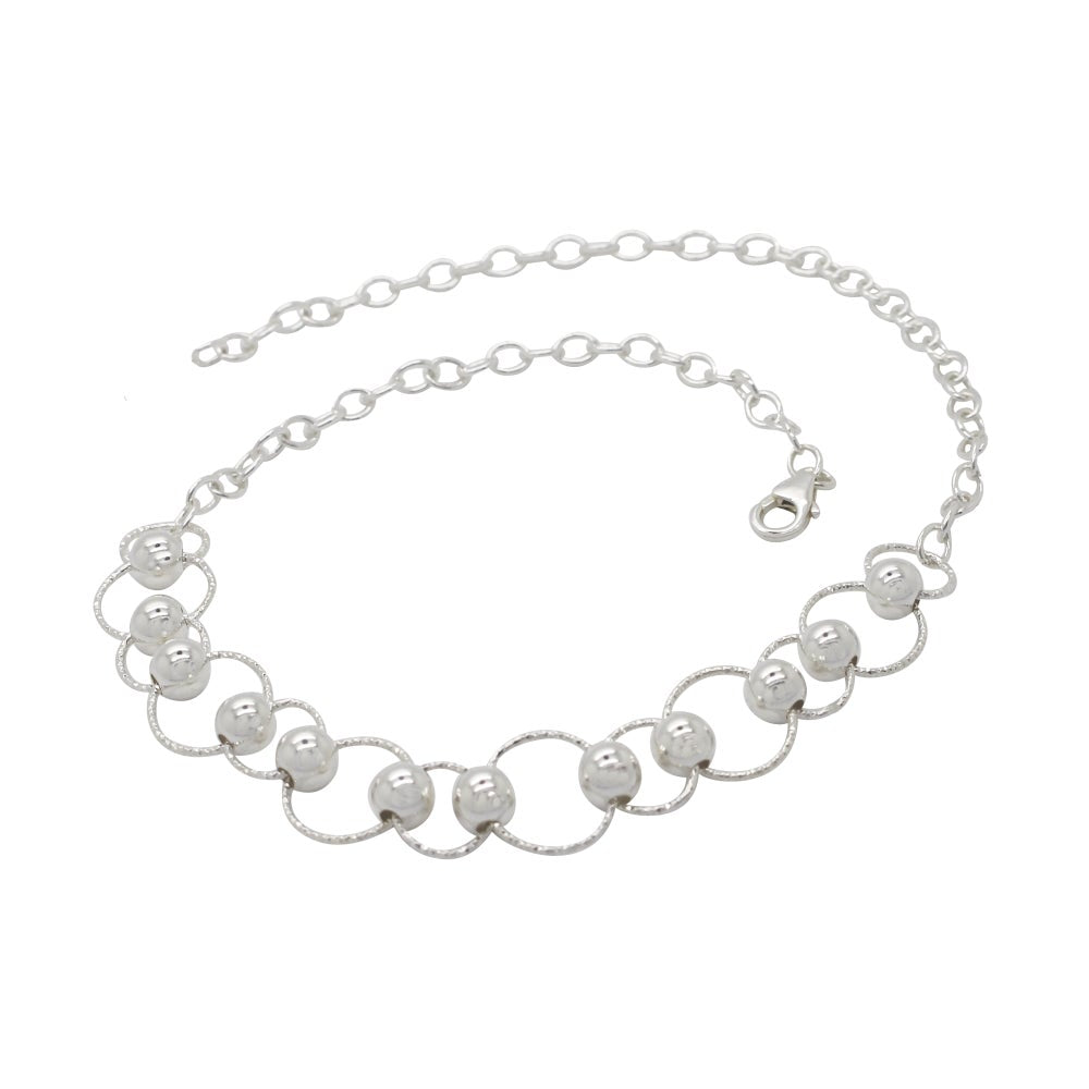 Circle and Bead Choker Sterling Silver