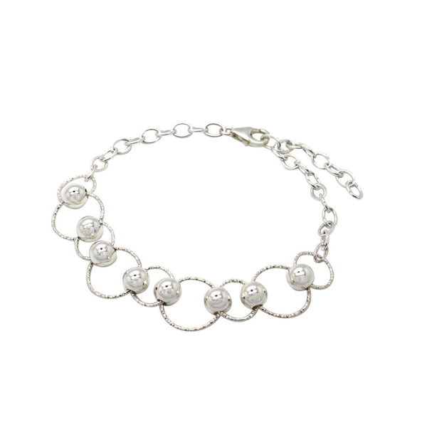 Circle and Bead Adjustable Bracelet Sterling Silver