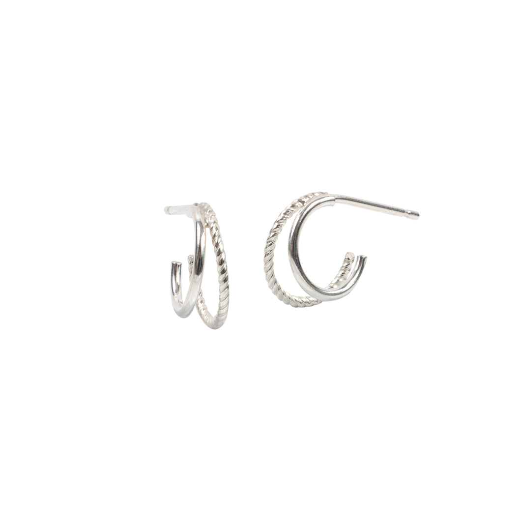 Double Mini Hoop Earrings Sterling Silver