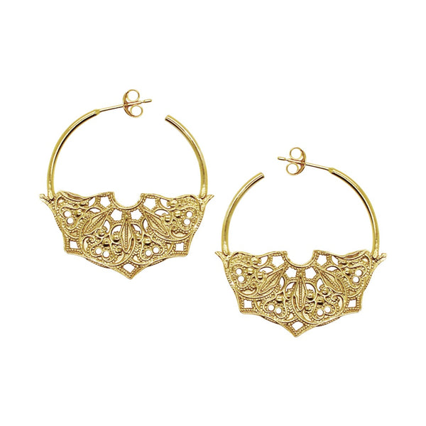 Half Moon Mandala Hoop Earrings