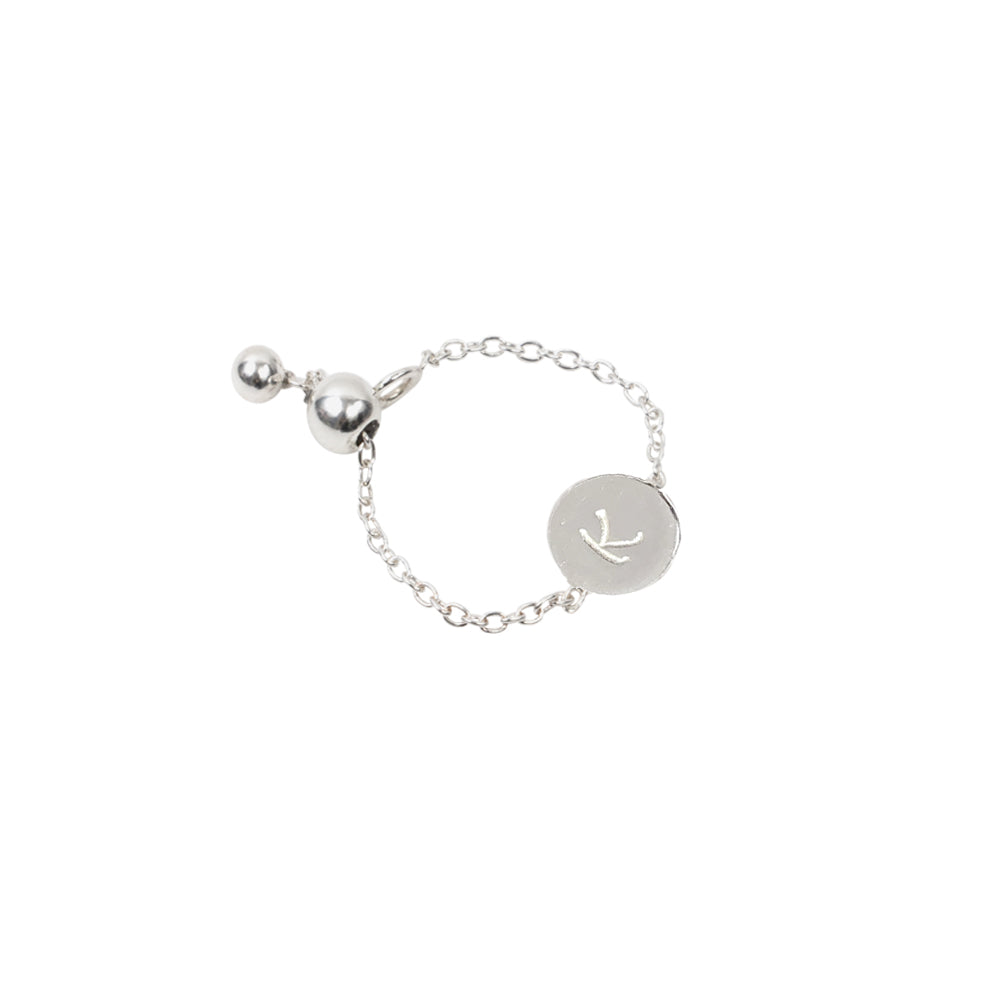 Personalised Initial Chain Ring Sterling Silver