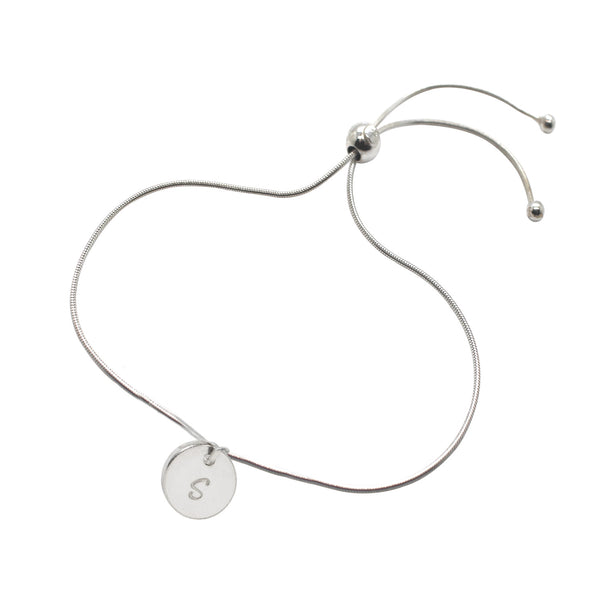 Personalised Disc Adjustable Bracelet Sterling Silver