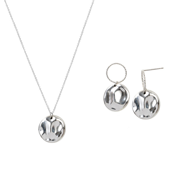 Large Medal Earring and Necklace Gift Set