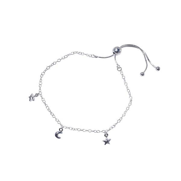 Moon and Star Adjustable Bracelet Sterling Silver