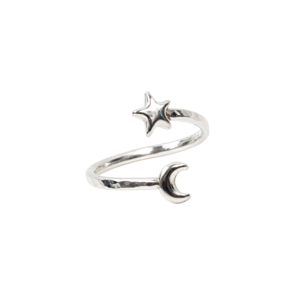 Moon and Star Adjustable Ring Sterling Silver