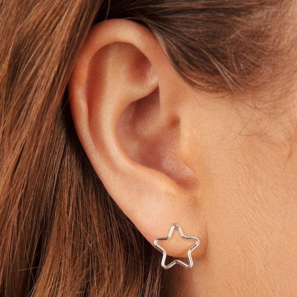 Open Star Stud Earrings Sterling Silver